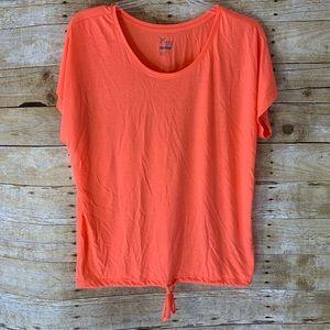 Old Navy Active Go Dry Orange T-Shirt Tie Hem 1X